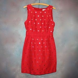 NWOT ELLE A-Line Dress Sz 8 Red  Metallic Dots